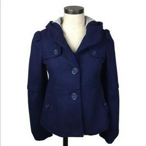 Anthropologie elevenses Blue Barbette Coat Size 12